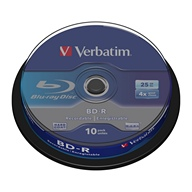 Verbatim, Blu-ray Disc, BD-R, 6x, 25GB, 10 Pack Spindle