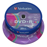 Verbatim, DVD+R Colour, 16x, 4.7GB, 25 Pack Spindle